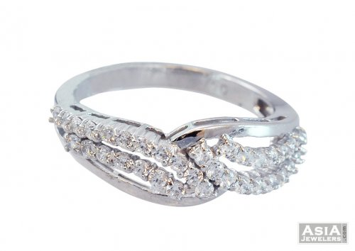 Designer 18K Fancy White Gold Ring