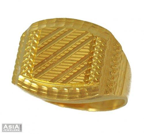 Mens Fancy Ring 22 Karat Ajri54045 Indian Mens Fancy Ring 22
