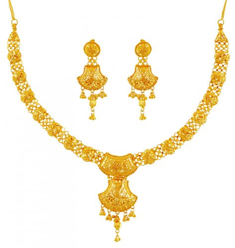 22K Gold Filigree Necklace Set AjNs60196 Beautiful Indian design