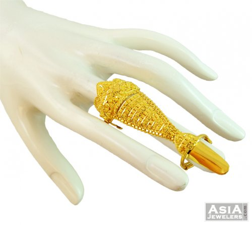 22k Dual Ring With Nail Ajri58702 22k Gold Exquisite Ring Two