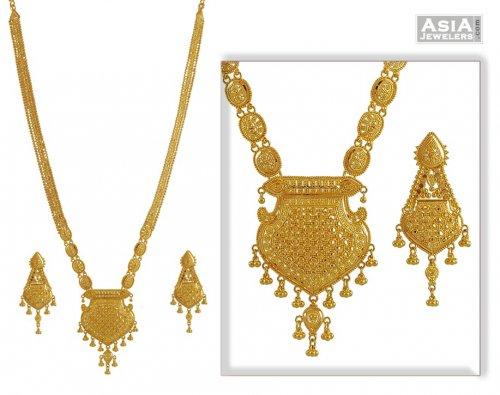 Indian Bridal Necklace Set AjNs52900 22K Gold Necklace and