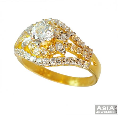 Indian Gold CZ Ring 22K AsRi 22K Indian Gold ring with