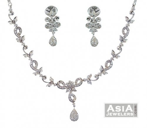 18k White Gold Diamond Necklace Set