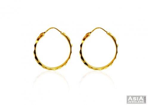 22k Gold Plain Hoop Earrings