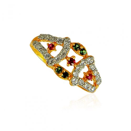 22k Gold ring for ladies with Ruby and Emerald