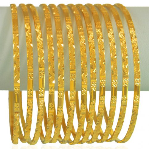 22KT Gold Bangles Set (12Pcs)
