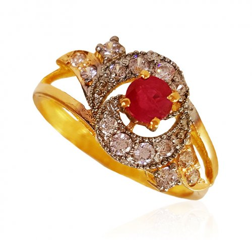 22Kt Gold Ruby Ring for Ladies