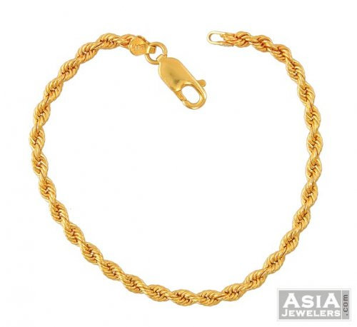 22k Gold Rope Bracelet