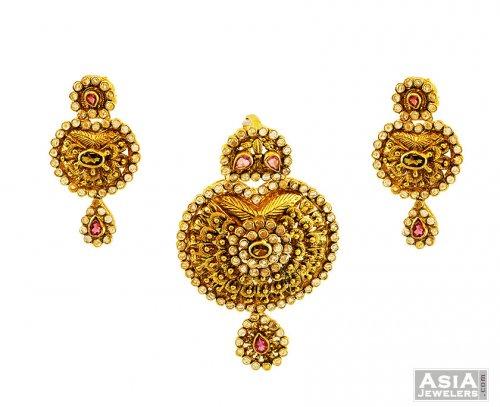 22k gold pendant set ajps56601 22k gold unique antique pendant 22k gold pendant set aloadofball Images