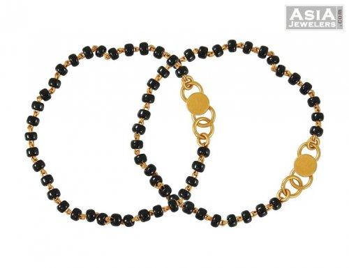 Black Beads Baby Bracelet Ajkb52599 22k Gold Baby