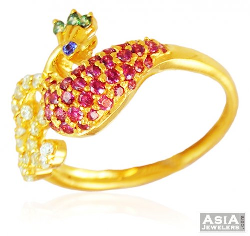 Beautiful Peacock 22K Gold Ring ajri 22k Gold Ring