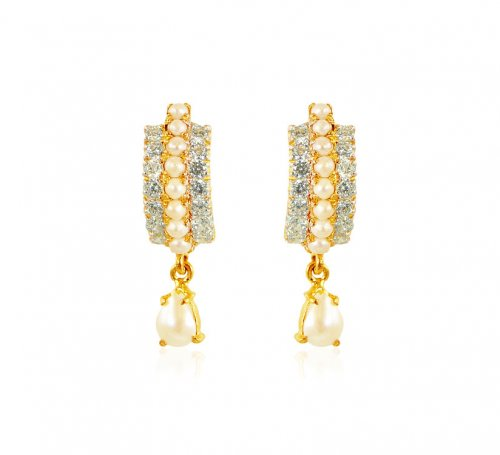 22kt Gold CZ and Pearls Earrings