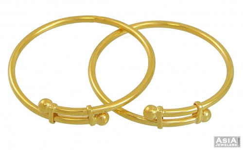 22K Gold plain Bangles (Kids) - AjBa54183 - 22k Gold Baby ...