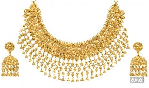 21k Designer Bridal Necklace Set AjNs 21K gold necklace