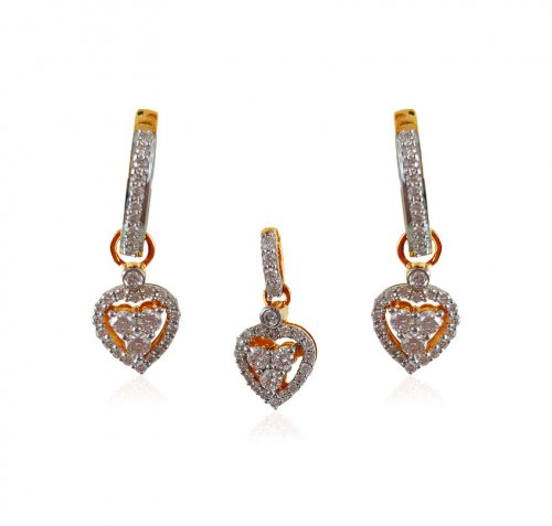 18KT Diamond Pendant Set