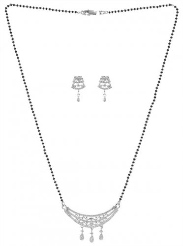18K White Gold Mangalsutra Set
