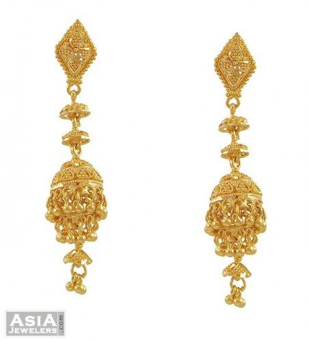 22k Yellow Gold Jhumka Earrings