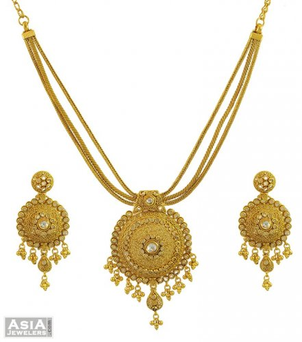 Gold Necklace And Earrings Set 22kt Indian Jewelry With: 22K Gold Polki Antique Set