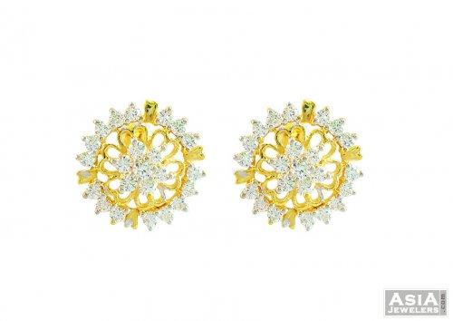 242f4385f 22K Fancy Floral Shaped Earrings - AjEr57410 - 22K Gold Designer ...
