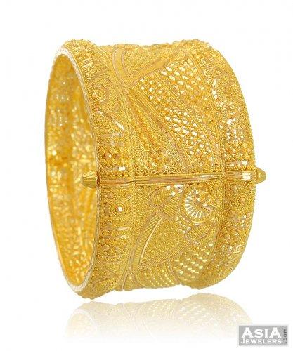 22k Designer Wide Kada 1 Pc Ajba54073 22k Gold