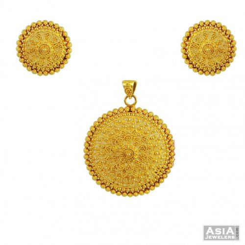 Gold pendant set classic design ajps55343 22k gold pendant and gold pendant set classic design aloadofball Images