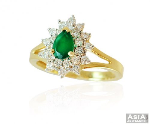 18K Fancy Emerald Diamond Ring ajdr 18k Yellow Gold
