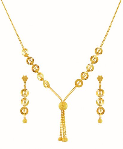 22k Light Weight Necklace Set Ajns59375 22k Gold