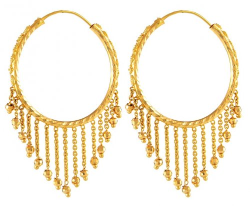 22K Gold Hoops AjEr 22K Gold Hoops earrings with balls