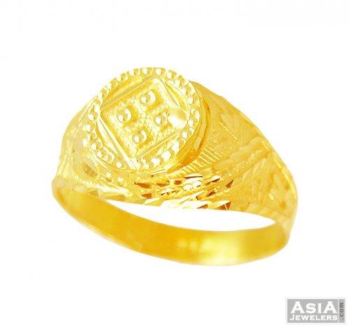 22K Gold Fancy Mens Ring AjRi 22k gold fancy men ring in
