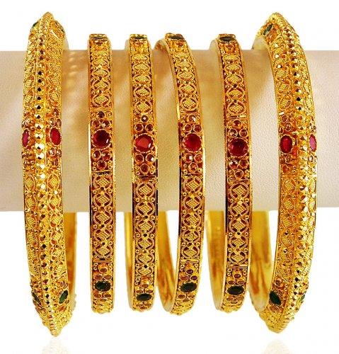 22 Karat Gold Bangles Set - AsBa62598 - US$ 7,344 - 22K ...