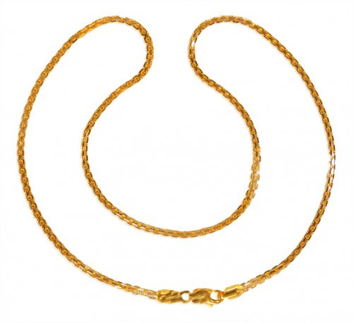 22kt Gold Two Tone Box Chain for Ladies