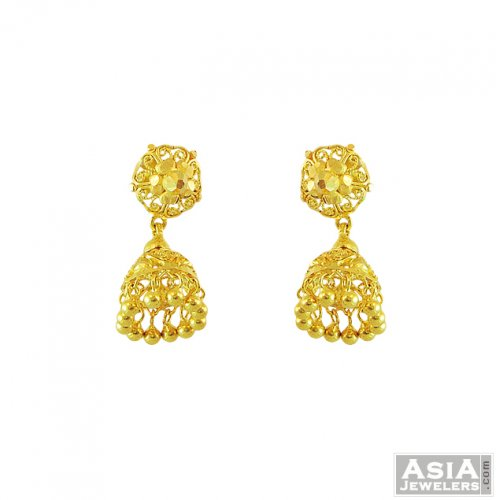 22k Yellow Gold Jhumka Earrings