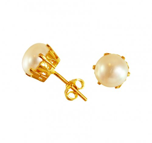 22 Karat Gold Pearl Tops Ajer63700 22k Gold Pearl Tops Earrings