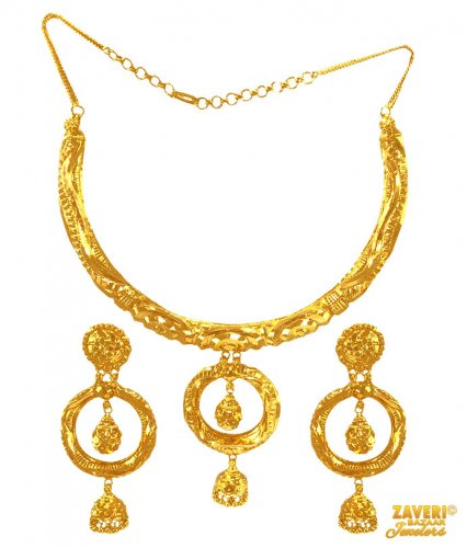 22 K Gold Necklace And Earrings Set