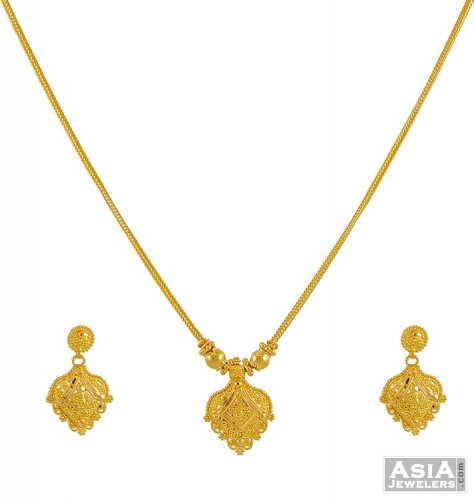 22K Yellow Gold Necklace Set AjNs52924 22k necklace earring set