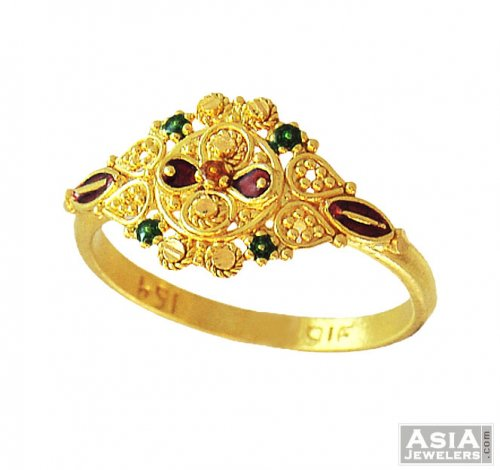 22k indian meenakari ring ajri55894 22k gold indian