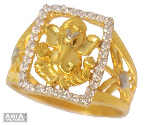 22k Mens Ganesha Stones Ring AjRi US$ 423 22k gold mens