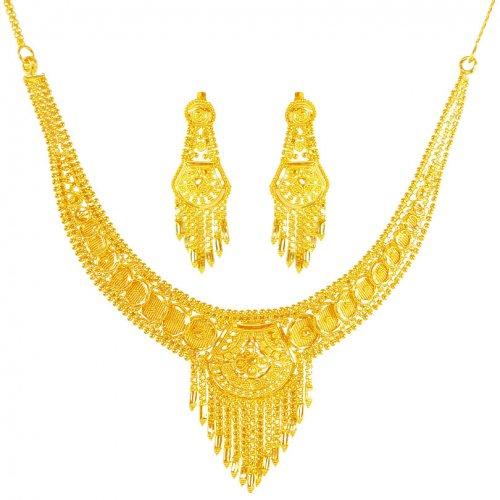 22 karat gold necklace set ajns62060 22k gold indian. Black Bedroom Furniture Sets. Home Design Ideas