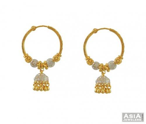 22k 2Tone Jhumki Bali AjEr54557 22k gold designer bali hoops in