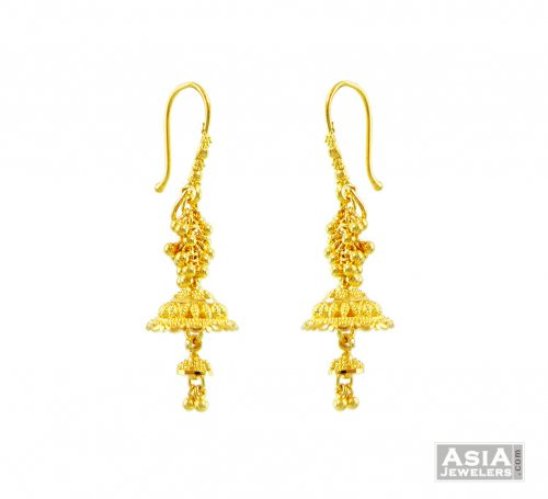 Filigree Jhumki Earrings 22k Gold