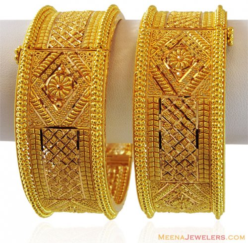 Beautiful Gold Indian Kada 2pc Ajba60032 22k