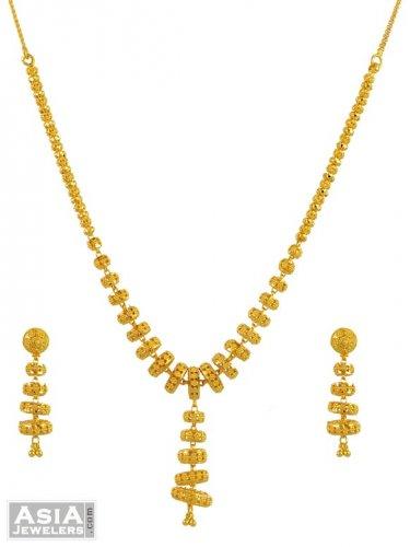 22K Gold Jhumka Neckla...