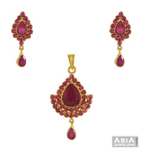 Gold Fancy Ruby Pendant Set