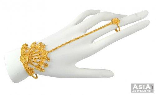 d0b4f9d690996 22k Gold Panja (Bracelet) - AjBr52051 - Beautifully hand crafted 22k ...