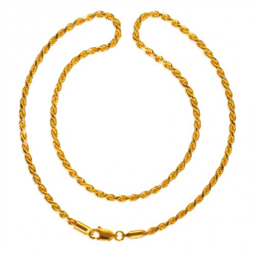22KT Gold Two Tone  Rope Chain