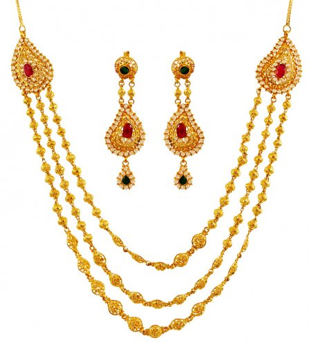 22k Precious Stone Necklace Set