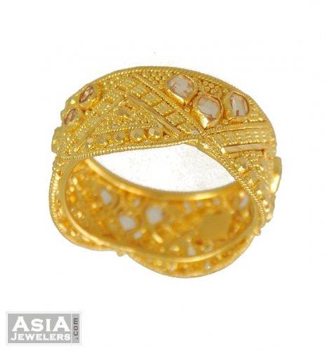 Gold Filigree Ring Indian Band AjRi 22K Gold Filigree