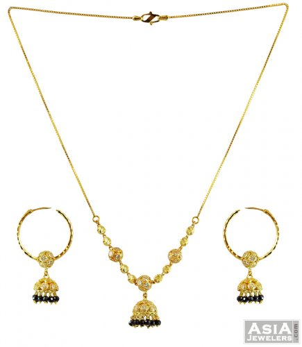 Black And Gold Chain Necklace Gold Black Beads Necklace Set