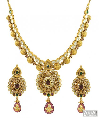 Gold Necklace And Earrings Set 22kt Indian Jewelry With: Indian Kundan Necklace Set (22Kt)