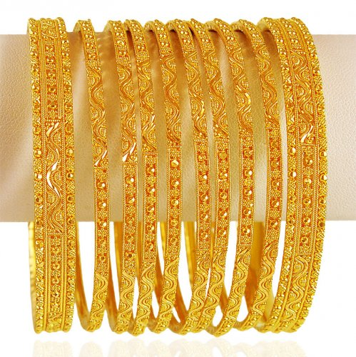 22kt Gold Indian Bangles Set Ajba62827 Traditional